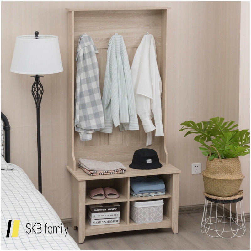 Coat Hat Rack With Shelf And 3 Hooks Organizer 200815-23307