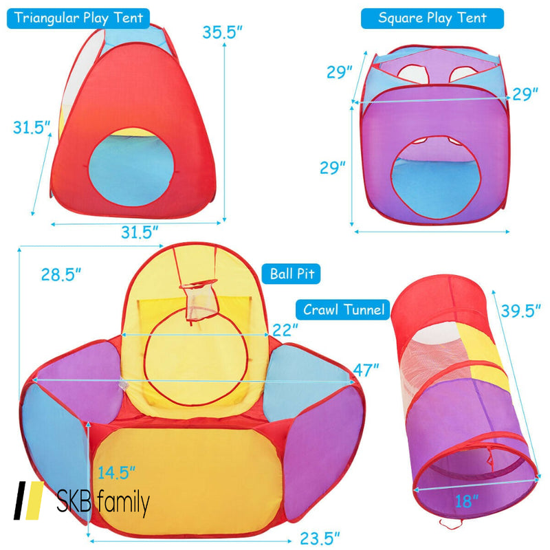 7 Pcs Kids Ball Pit Pop Up Play Tents 200815-23341
