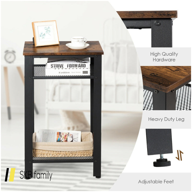 3-Tier Industrial Tall Nightstand Side End Telephone Table 200815-23344