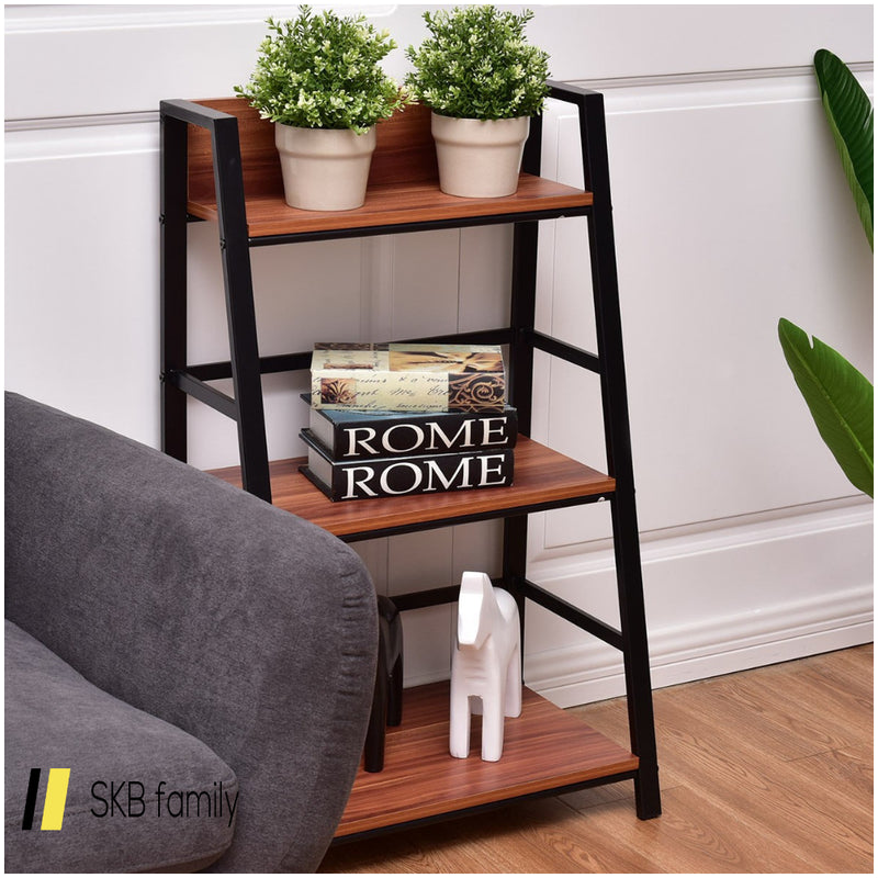 3-Tier Home Office Ladder Shelf Bookshelf Plant Display Stand Storage Shelves 200815-23347