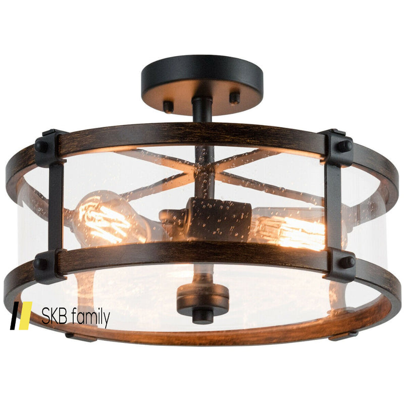 3-Light Living Room Retro Flush Mount Ceiling Light 200815-23357