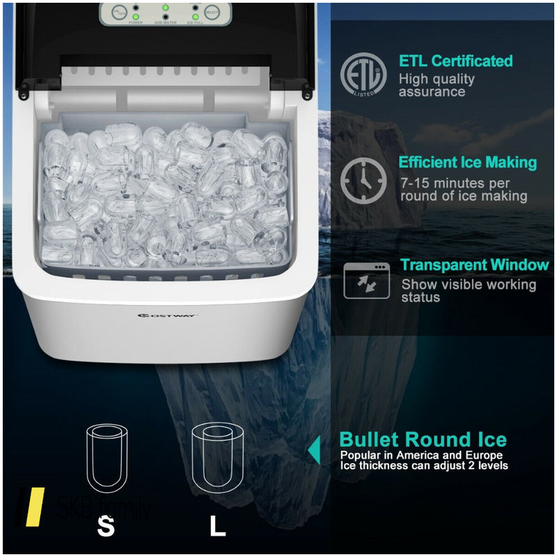 26 Lbs/24 H Self-Clean Stainless Steel Ice Maker 200815-23362