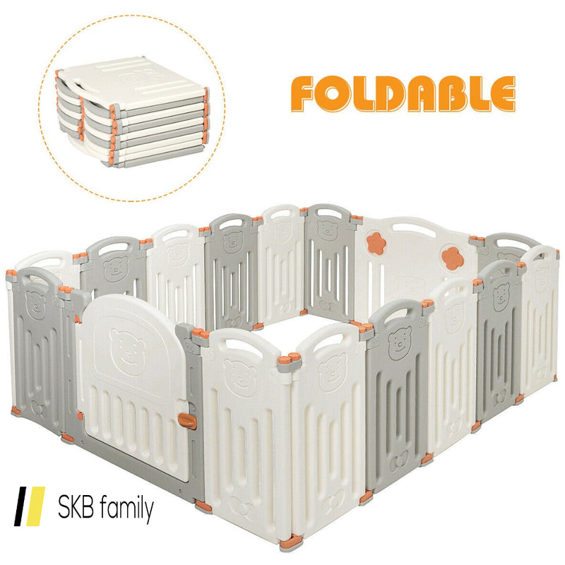 16 Panel Activity Safety Baby Playpen W/ Lock Door 200815-23373