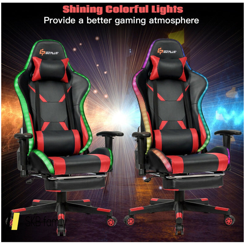 Massage Racing Gaming Chair Chair With Rgb Led Lights 200815-23375