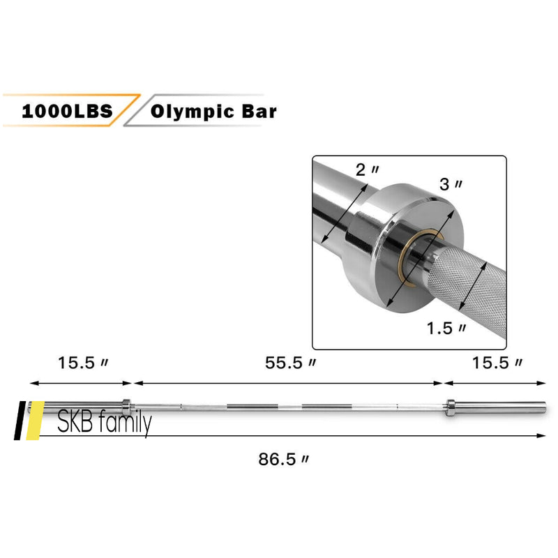 1000 Lbs Weight Lifting Barbell Multipurpose Chromed Weight Bar 200815-23380