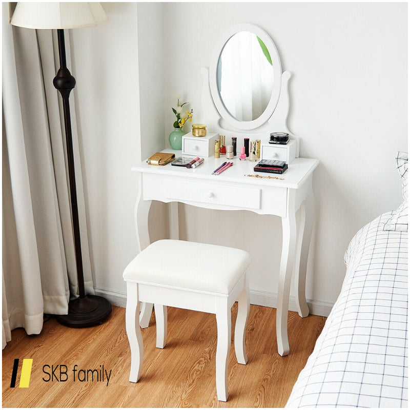 White Simple Vanity Makeup Table With Mirror + 3 Drawers 200815-23398