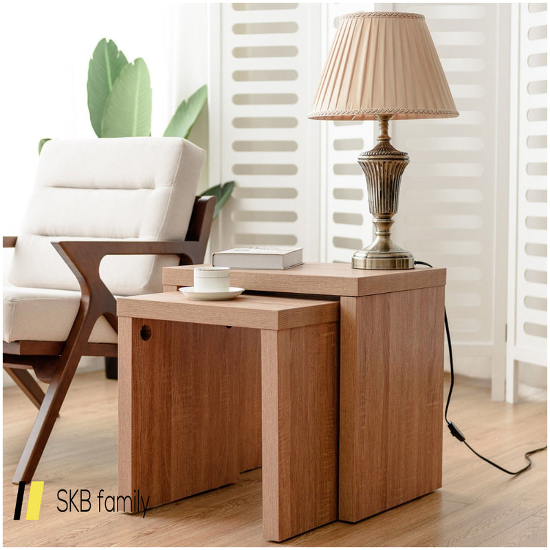 Set Of 2 Nesting Wooden Coffee End Table Side Table 200815-23402
