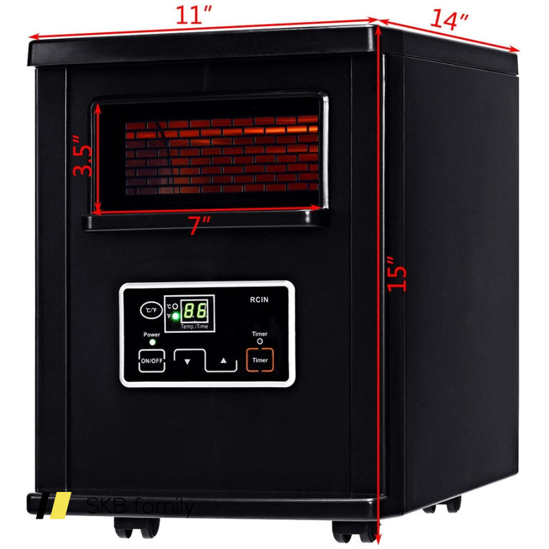 1500 W Electric Portable Remote Infrared Heater Black 200815-23403