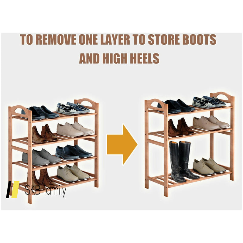 4 Tier Bamboo Shoe Shelf Storage Organizer 200815-23408