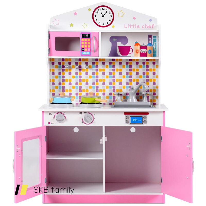 Kids Wooden Pretend Cooking Play Kitchen Set 200815-23427