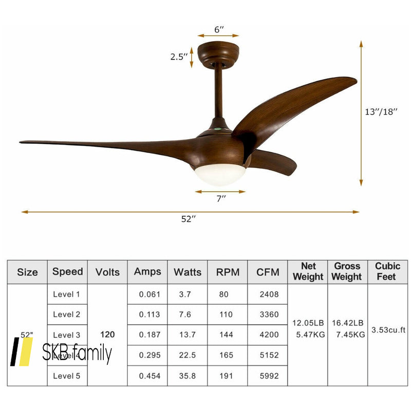 "52"" Low Profile Ceiling Fan With Led Light 200815-23429"