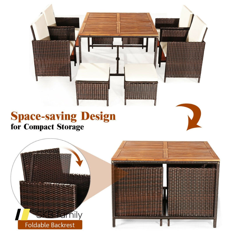 9pcs Patio Rattan Dining Cushioned Chairs Set 200815-23442