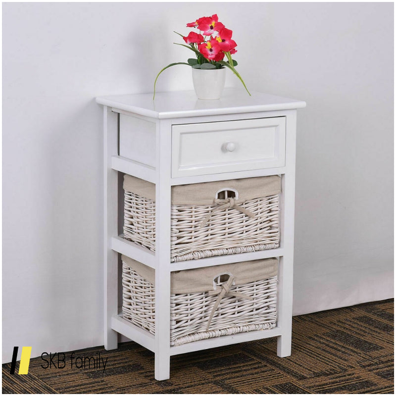 3 Tier Set Of 2 Wood Nightstand With 1 Drawer & 2 Basket 200815-23459