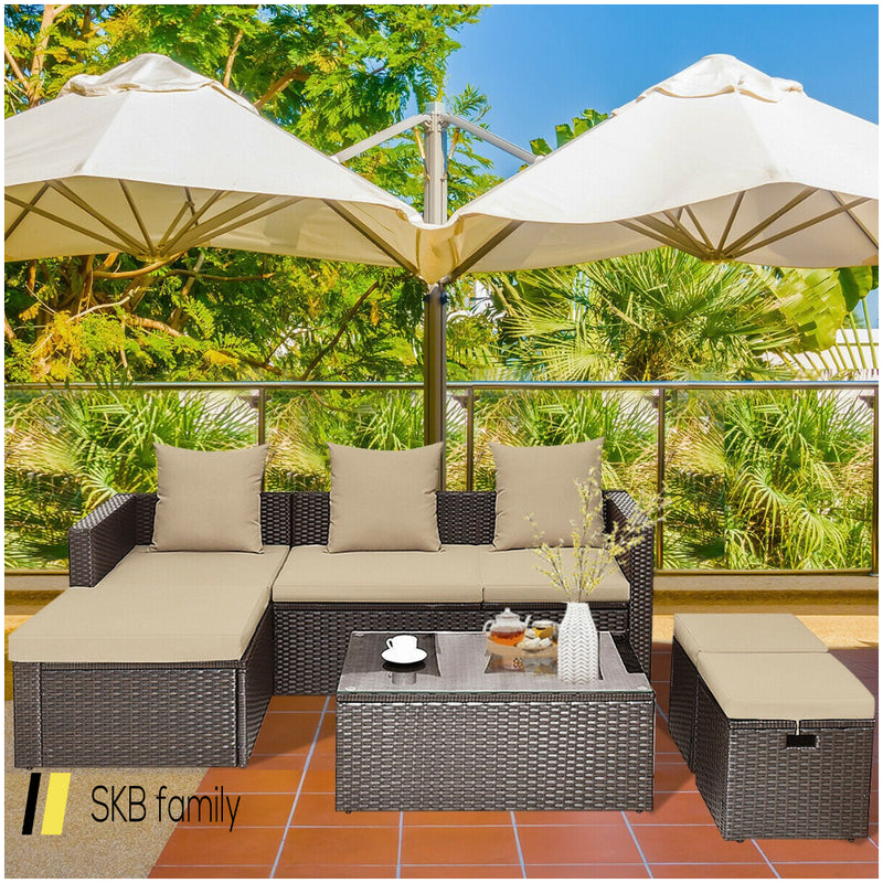 5-Piece Rattan Patio Furniture Set Adjustable Sofa Cushioned Ottoman 200815-23472