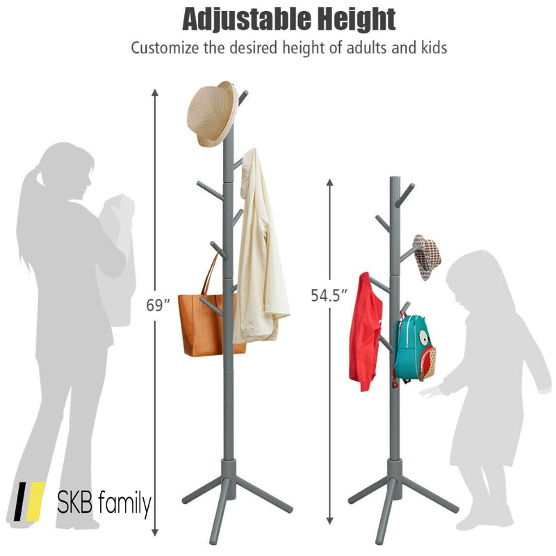 2 Heights Wooden Coat Rack With 8 Hooks 200815-23480