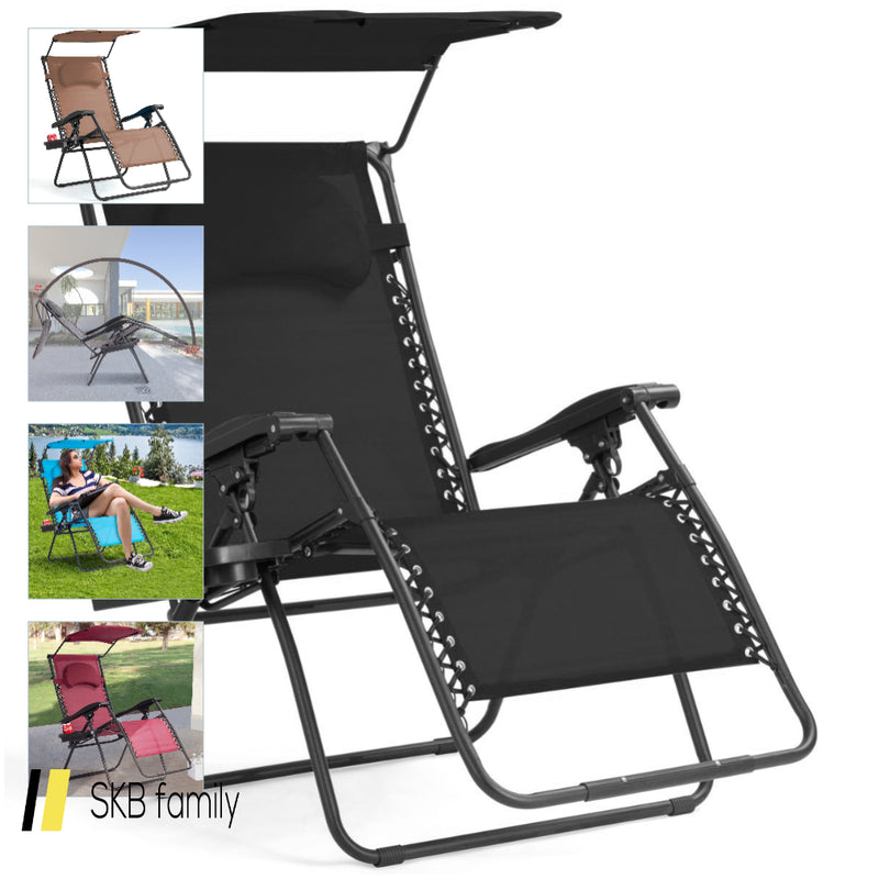 Folding Recliner Lounge Chair With Shade Canopy Cup Holder 200815-23485