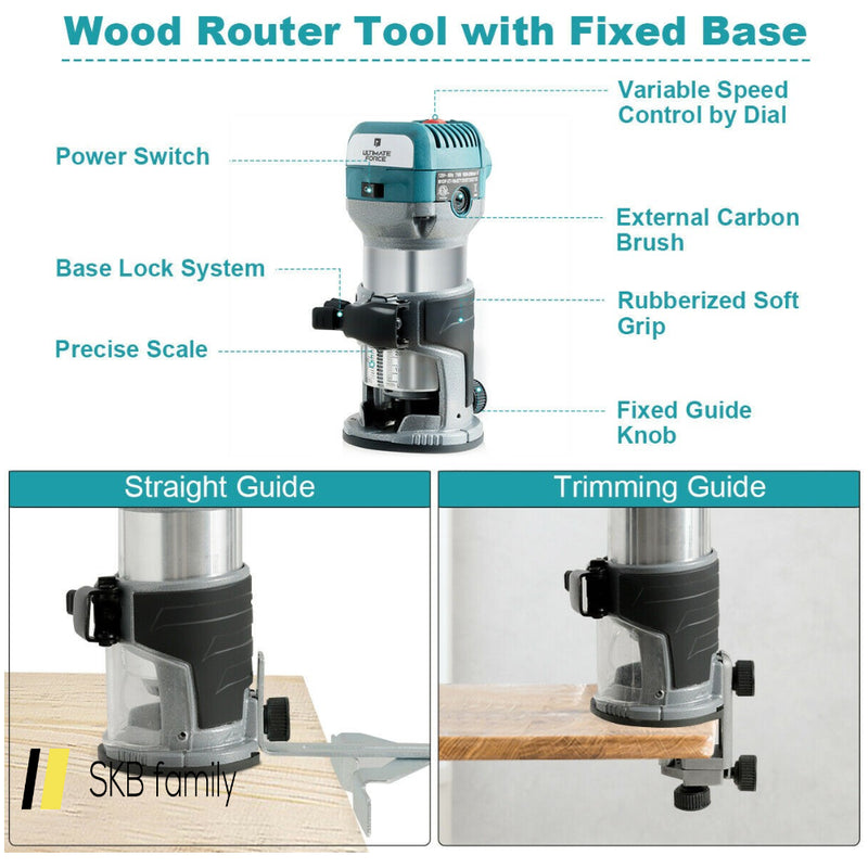 1.25hp Palm Router Electric Trimmer Kit Variable Woodworking Tool 200815-23508
