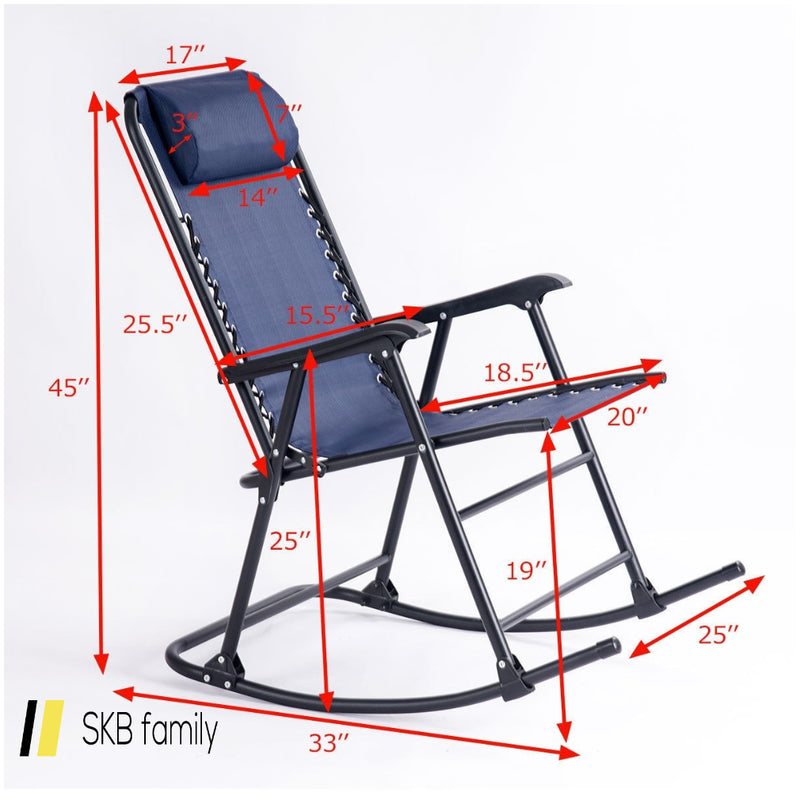 Outdoor Patio Headrest Folding Zero Gravity Rocking Chair 200815-23522