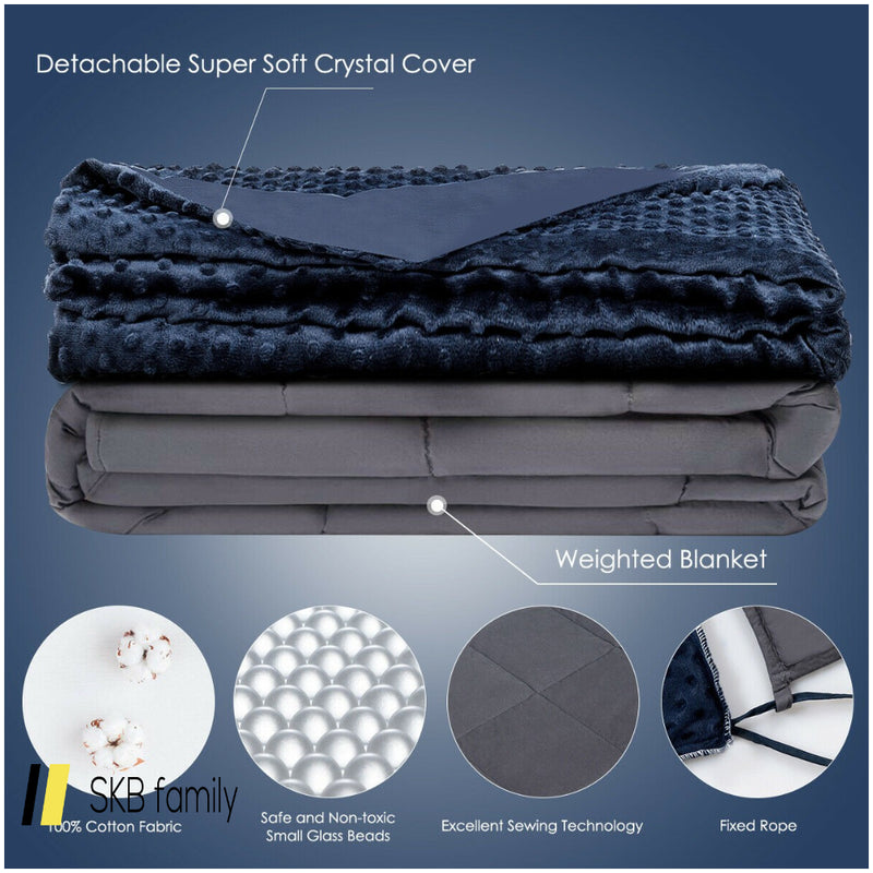 25 Lbs Weighted Blanket With Removable Soft Crystal Cover 200815-23533