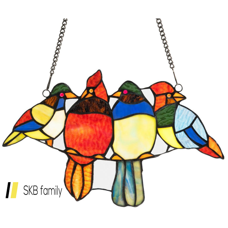 "14.5"" Tiffany Glass Birds Window Panel Hangings With Chain 200815-23542"