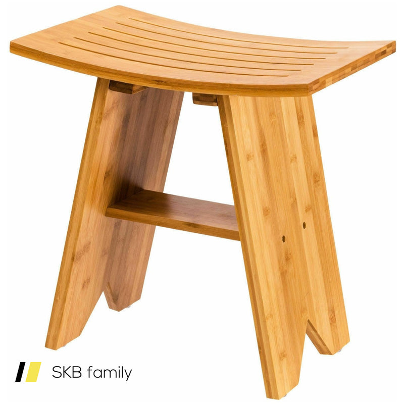 "18"" Bamboo Shower Stool Bench With Shelf 200815-23548"