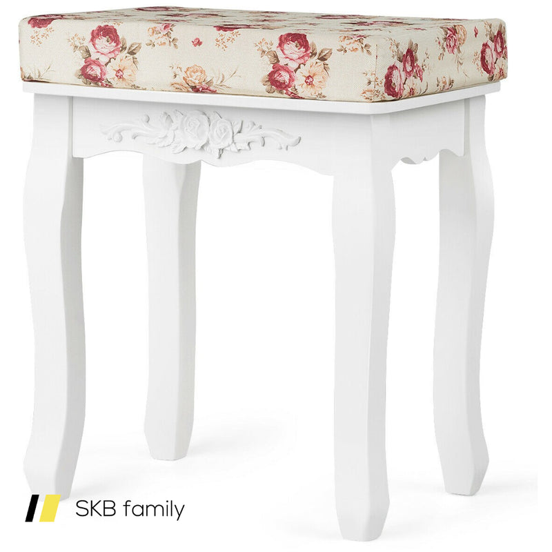 White Cushioned Vanity Stool Piano Seat 200815-23563