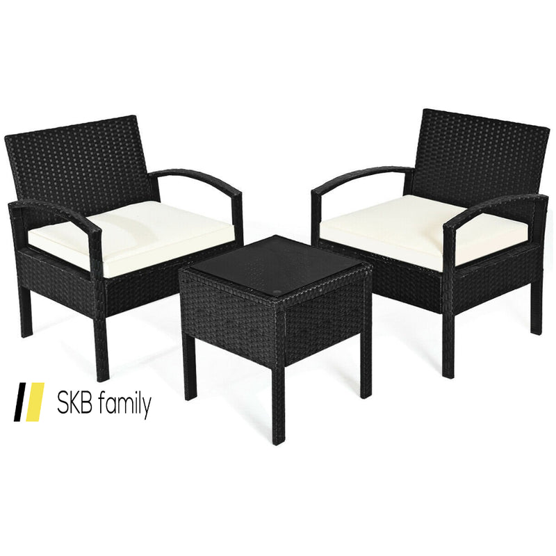 3 Pcs Patio Rattan Furniture Set Sofa Cushioned Table Garden 200815-23590