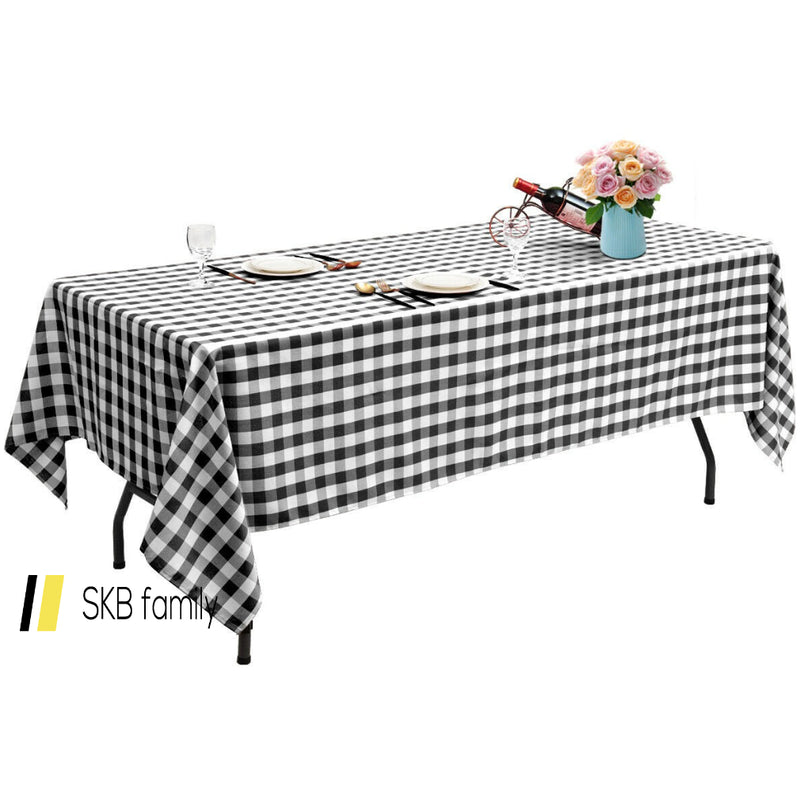 "10 Pcs 60"" X 102"" Rectangular Polyester Checker Kitchen Tablecloth 200815-23600"