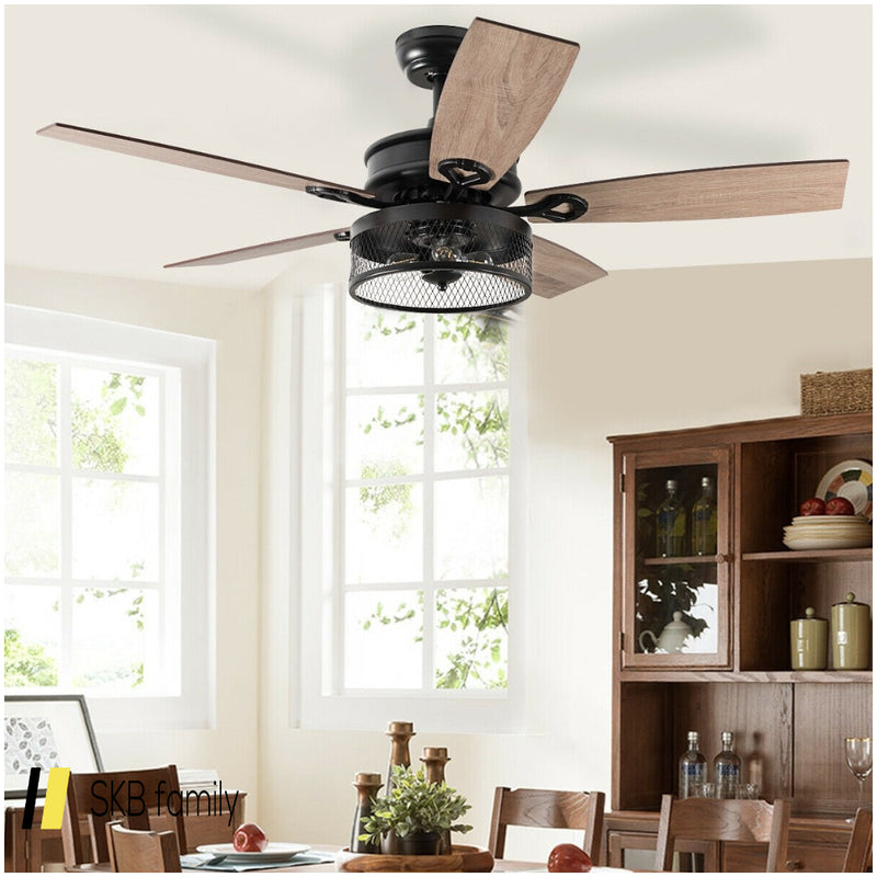 48-Inch Ceiling Fan With 5 Wooden Rustic Reversible Blades 200815-23603
