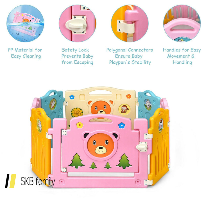 8 Panel Home Indoor Outdoor Kids Center Safety Playpen 200815-23604