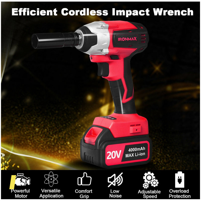 20v Cordless Impact Wrench Brushless With 4.0 Ah Battery 200815-23607