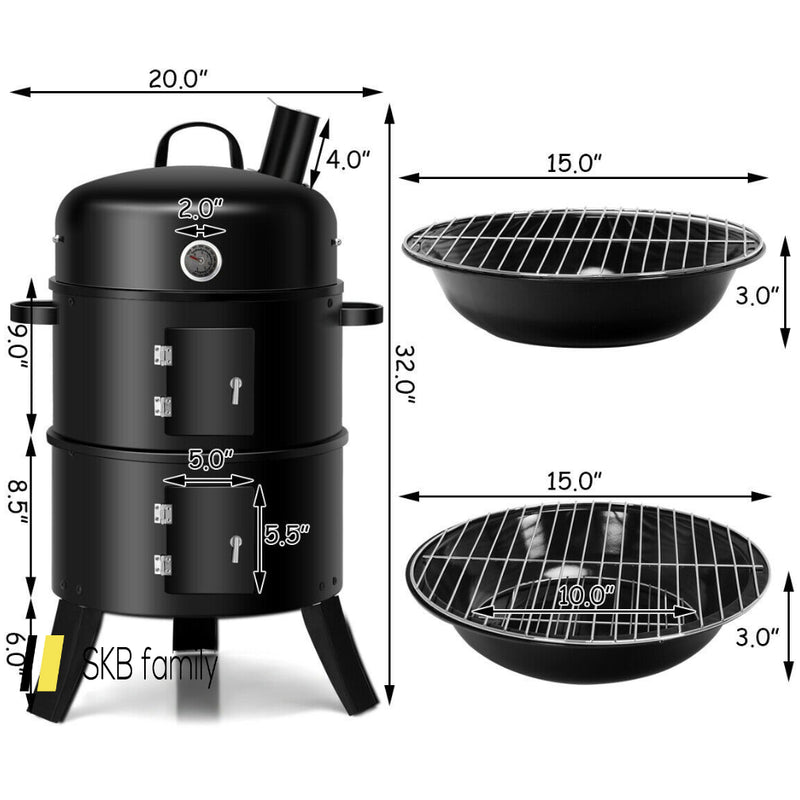 3-In-1 Portable Round Charcoal Smoker Bbq Grill Built-In Thermometer 200815-23628