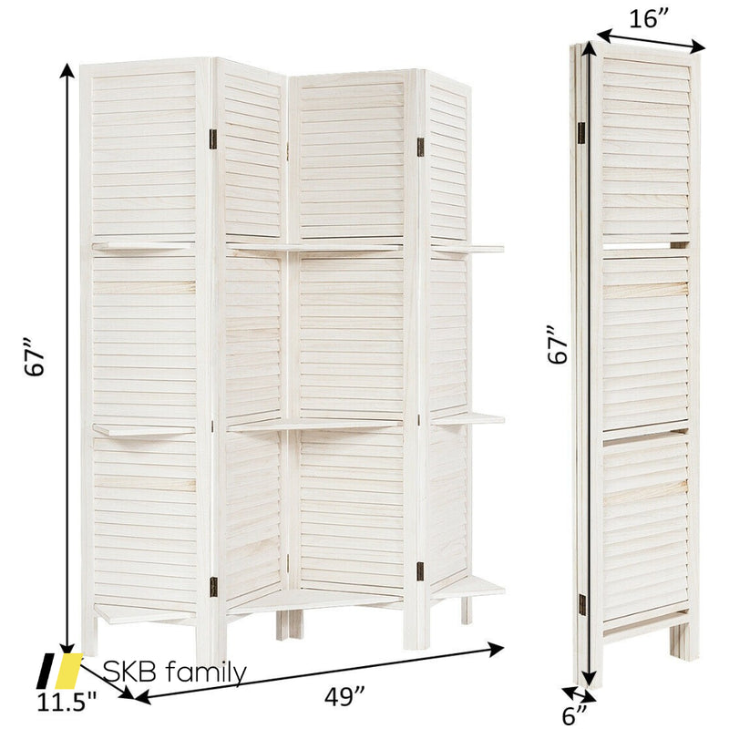 4 Panel Freestanding Folding Hinged Room Divider /W 3 Display Shelves 200815-23633