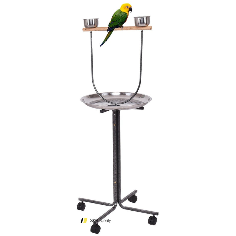"51"" Bird Parrot Play Stand Perch With Pan Feeding Cups 200815-23641"