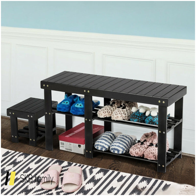 3-Tier Entryway Bamboo Shoe Rack Bench Stool Storage Organizer 200815-23672