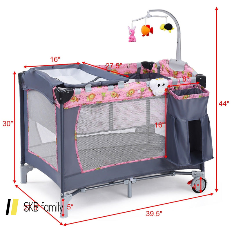 Foldable 2 Color Baby Crib Playpen Playard 200815-23675