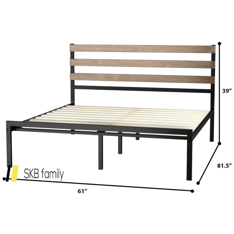 Queen Size Metal Bed Frame Foundation With Headboard 200815-23685