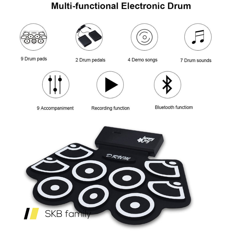 Electronic Silicone Rechargeable Drum Set With Pedals Sticks 200815-23686