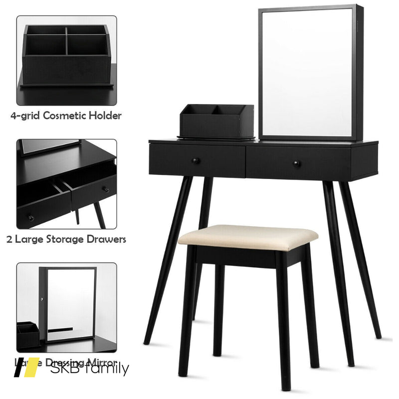 Vanity Dressing Table Set Lockable Jewelry Cabinet With Mirror 200815-23696