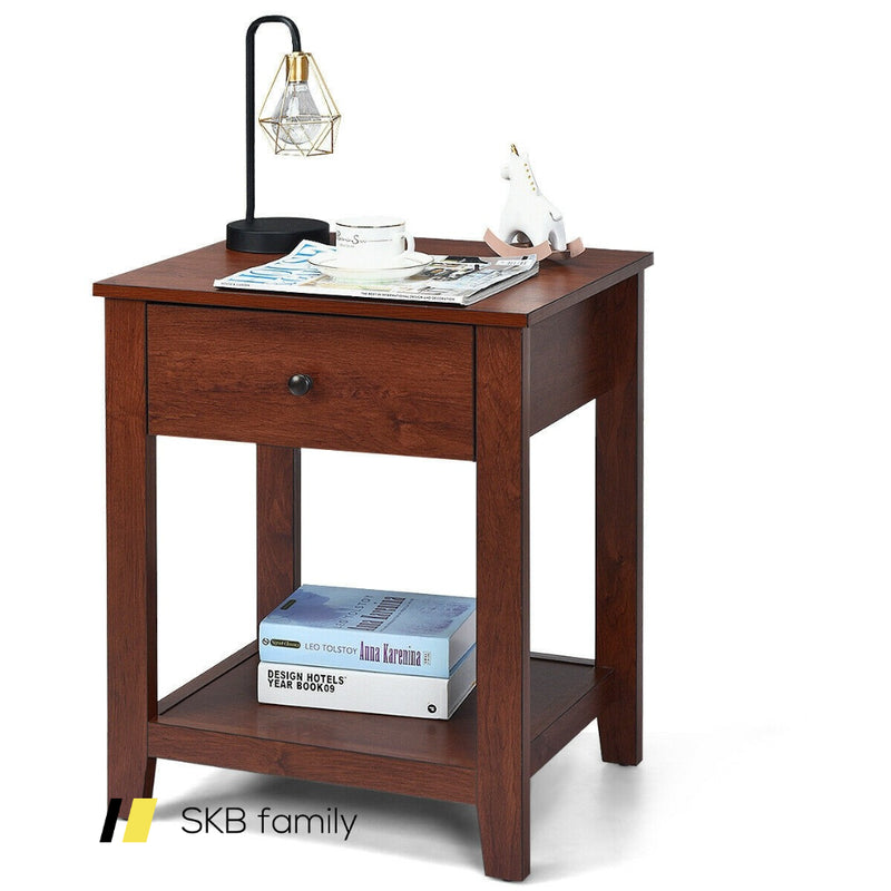 Night Stand End Side Table With Drawer And Storage Shelf 200815-23720