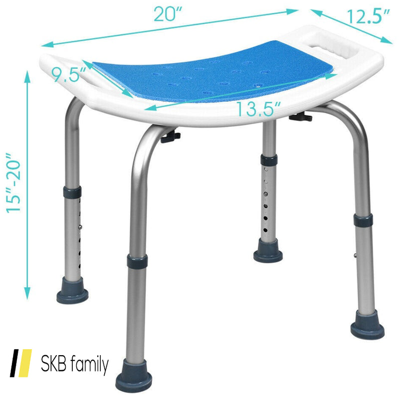 Shower Stool 6 Adjustable Height Non-Slip Padded Blue Seat 200815-23725