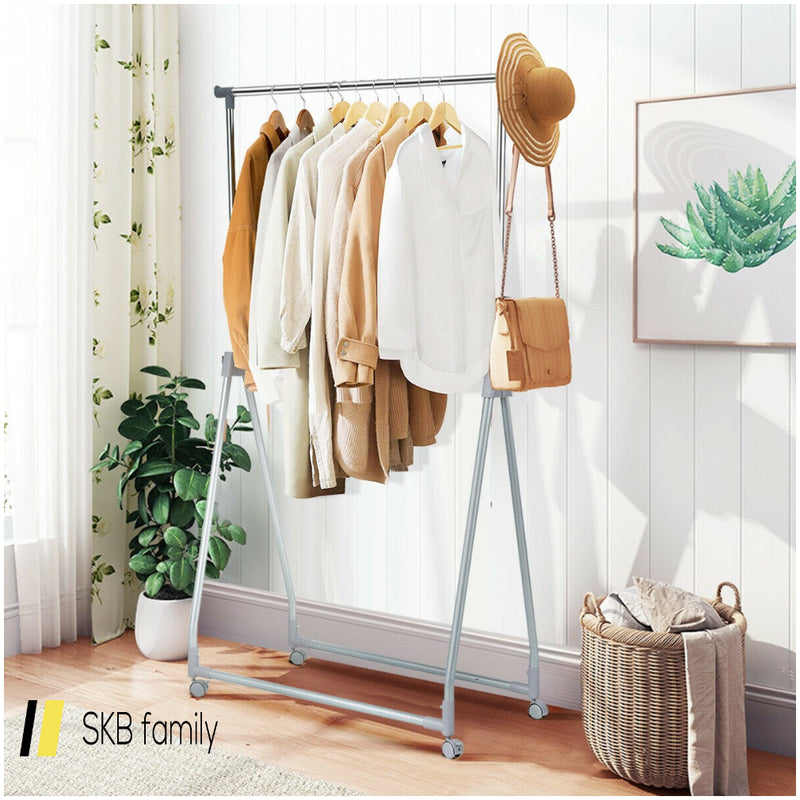 Extendable Foldable Heavy Duty Clothing Rack With Hanging Rod 200815-23737