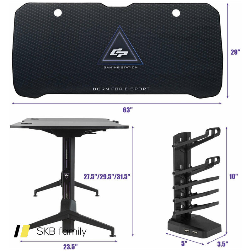 "Gaming Desk 62.5"" T-Shape Height Adjustable With Cup Holder 200815-23752"