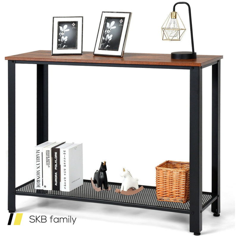 Metal Frame Wood Console Sofa Table With Storage Shelf 200815-23754