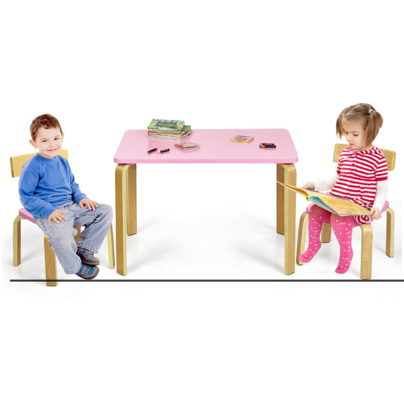 3 Piece Kids Wooden Activity Table And 2 Chairs Set 200815-23767