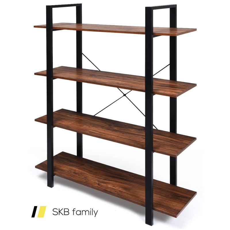 4-Tiers Bookshelf Industrial Bookcases Metal Frame Shelf Stand 200815-23785