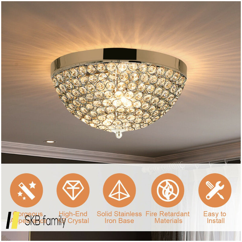 3 Lights Living Room Crystal Ceiling Light Fixture 200815-23794