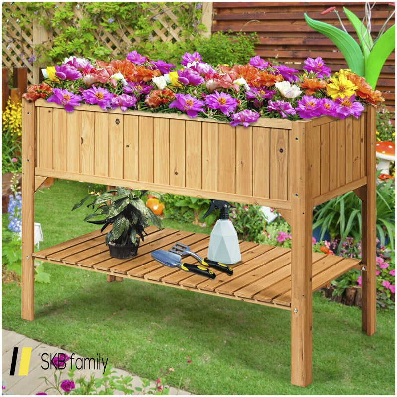 Wooden Elevated Planter Box Shelf Suitable For Garden Use 200815-23822