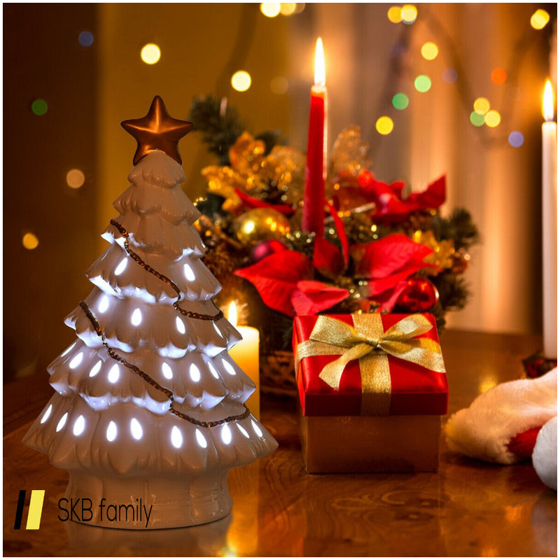 "11"" Pre-Lit Ceramic Hollow Christmas Tree With Led Lights 200815-23856"