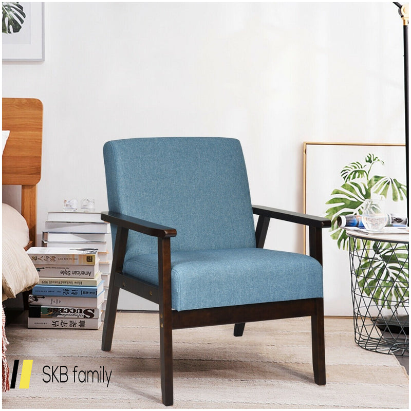 Solid Rubber Wood Fabric Accent Armchair 200815-23861